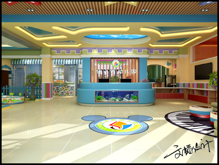 幼儿园,早教中心效果图,幼儿园大厅设计