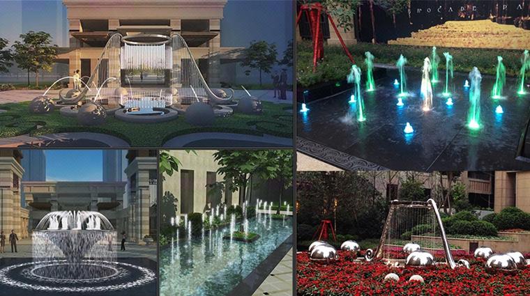 入口水景-住宅丨会所丨售楼处入口水景喷泉设计及定制图片