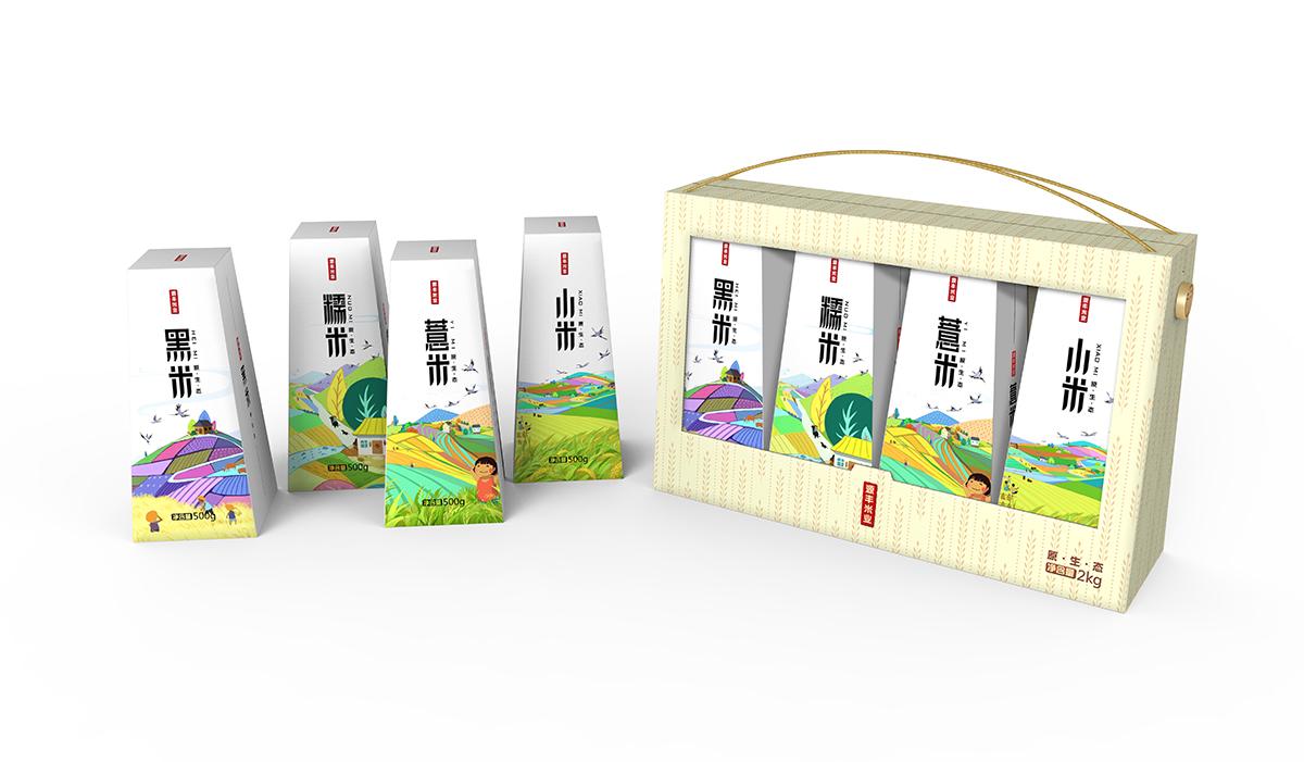產品包裝袋食品包裝盒設計手繪插畫設計化妝品手提袋品牌包裝設計
