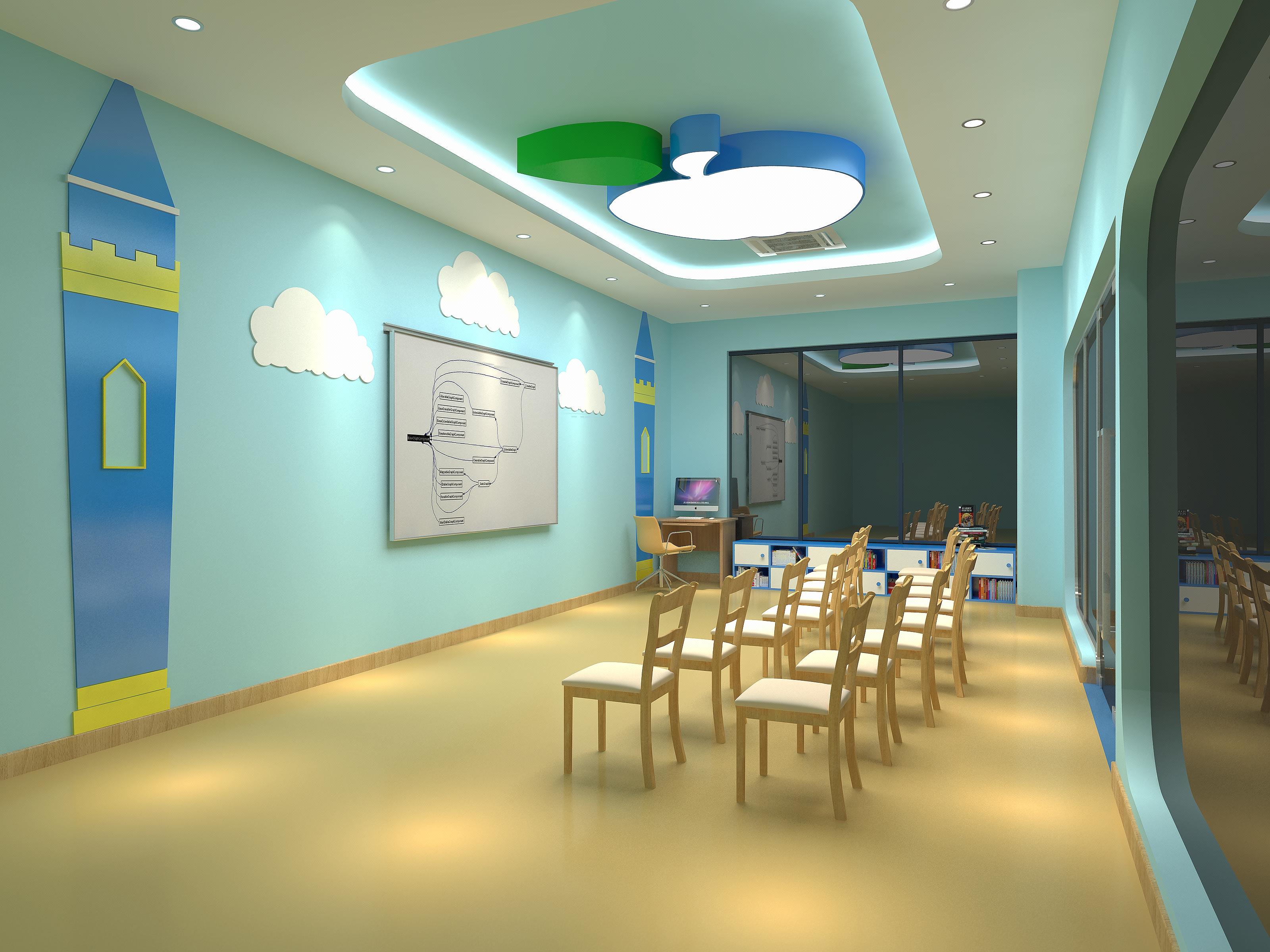 学校 少儿英语培训学校 培训学校大厅 教室室内装修设计