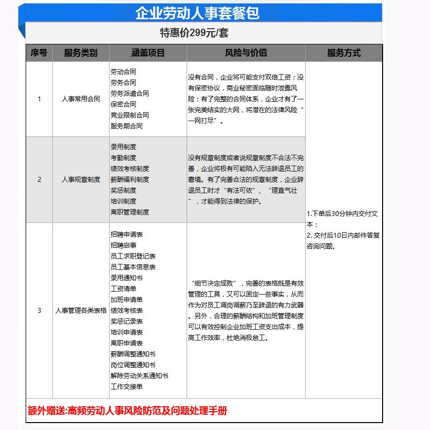 企业法律咨询_企业劳动人事套餐包/企业用工必备2