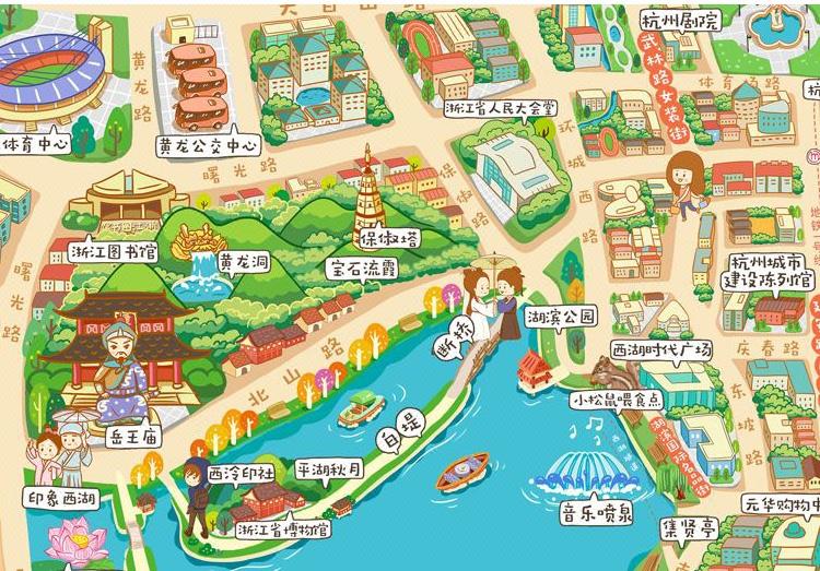 手绘卡通地图设计定制游戏漫画校园旅游景点店铺导视图导航图制作