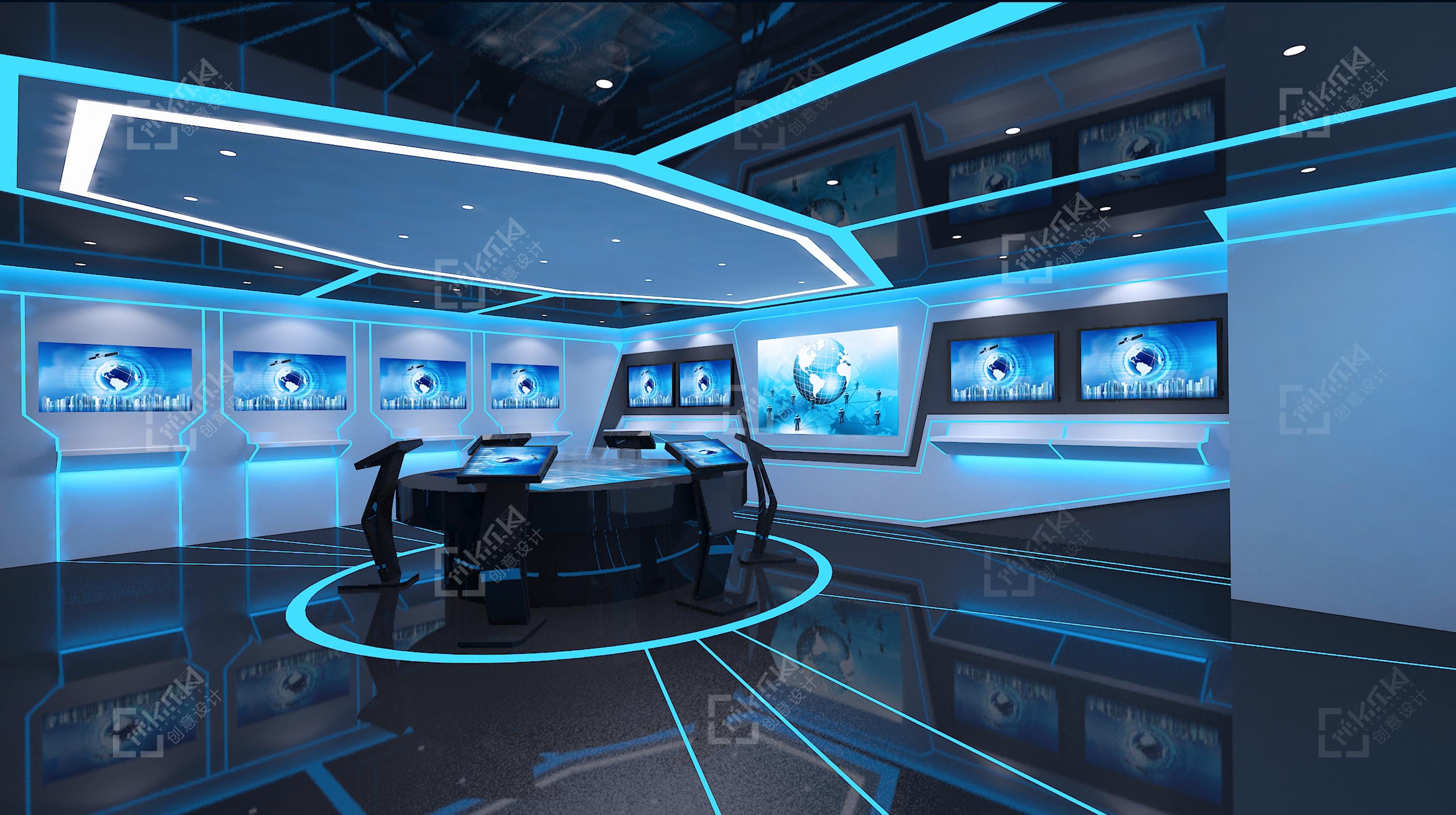 互联网高科技网络物联网智慧城市区块链通讯新能源环保展厅设计图片