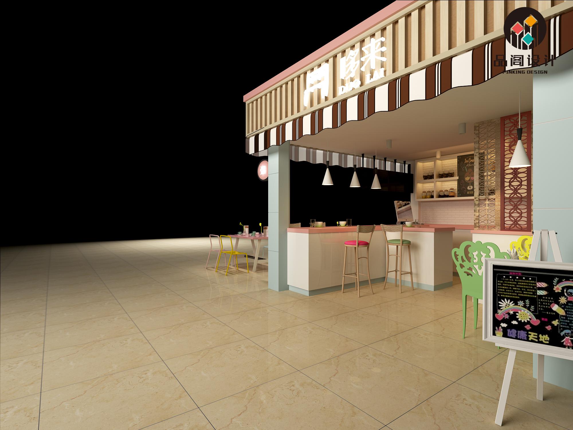 奶茶甜品店店铺效果图设计 装修设计效果图 室内门店设计效果图