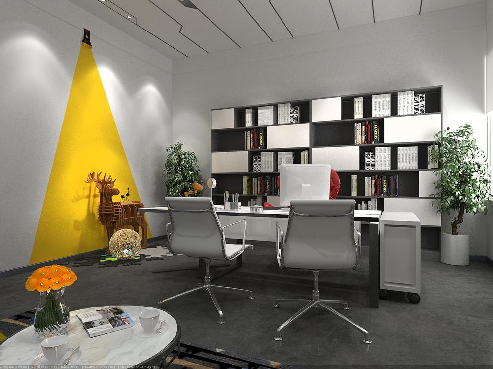 小型办公室装修设计 办公室室内设计 现代风格办公室装修效果图