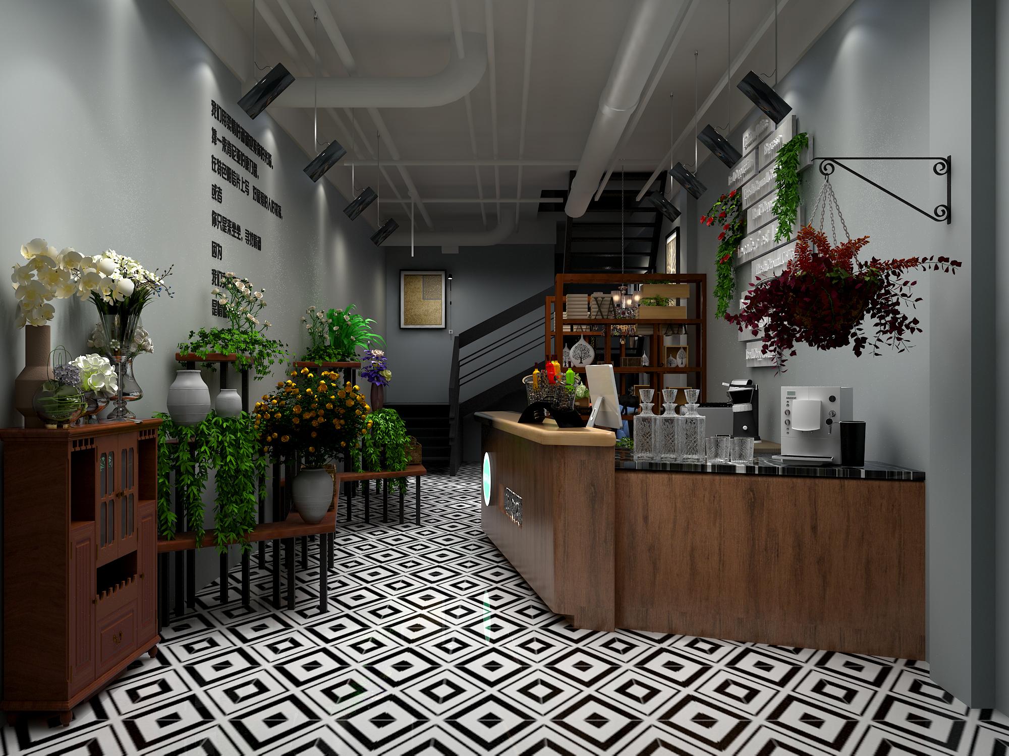 咖啡店,花店装修设计效果图制作连锁店设计