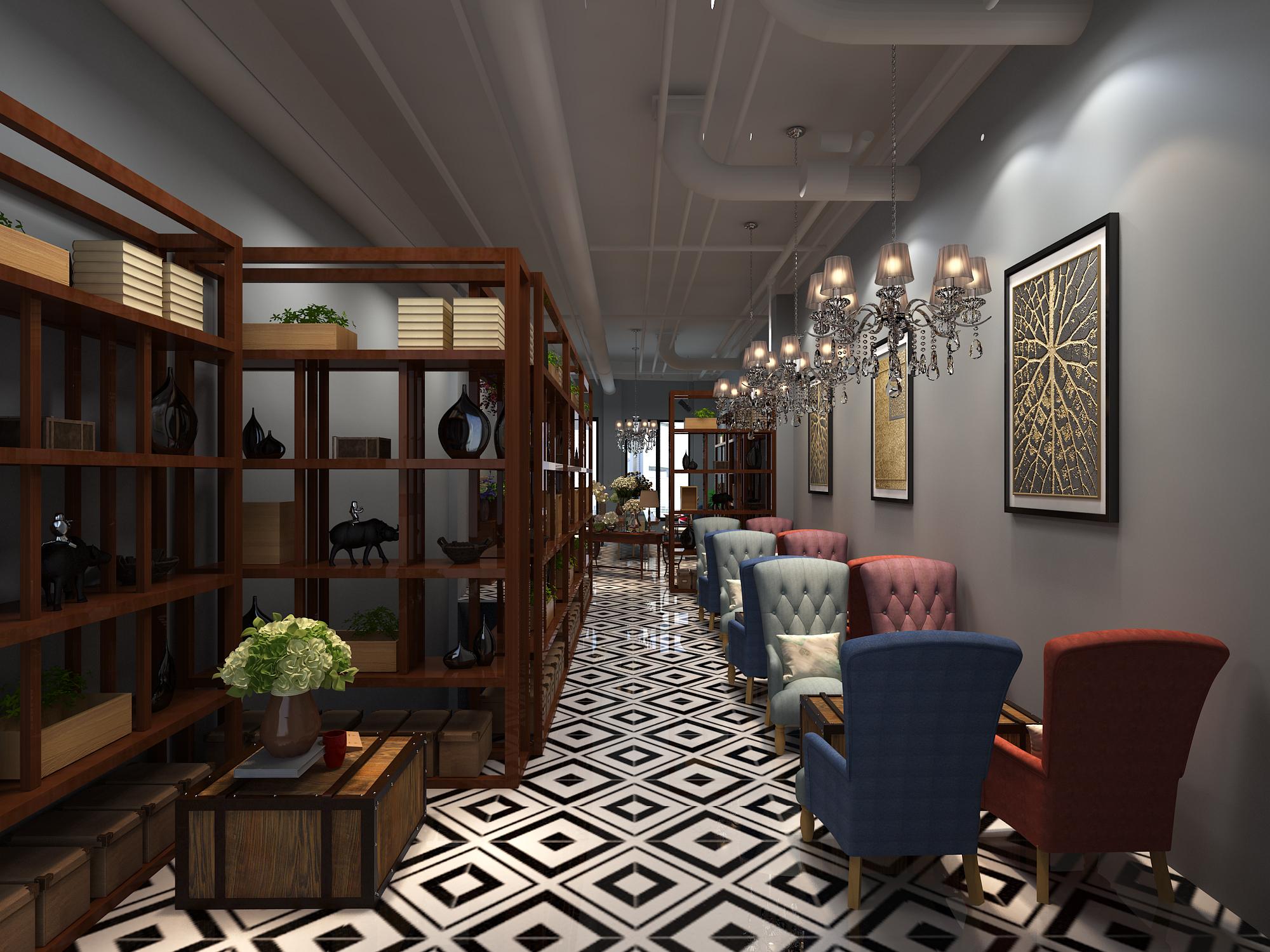 咖啡店,花店装修设计效果图制作连锁店设计图片