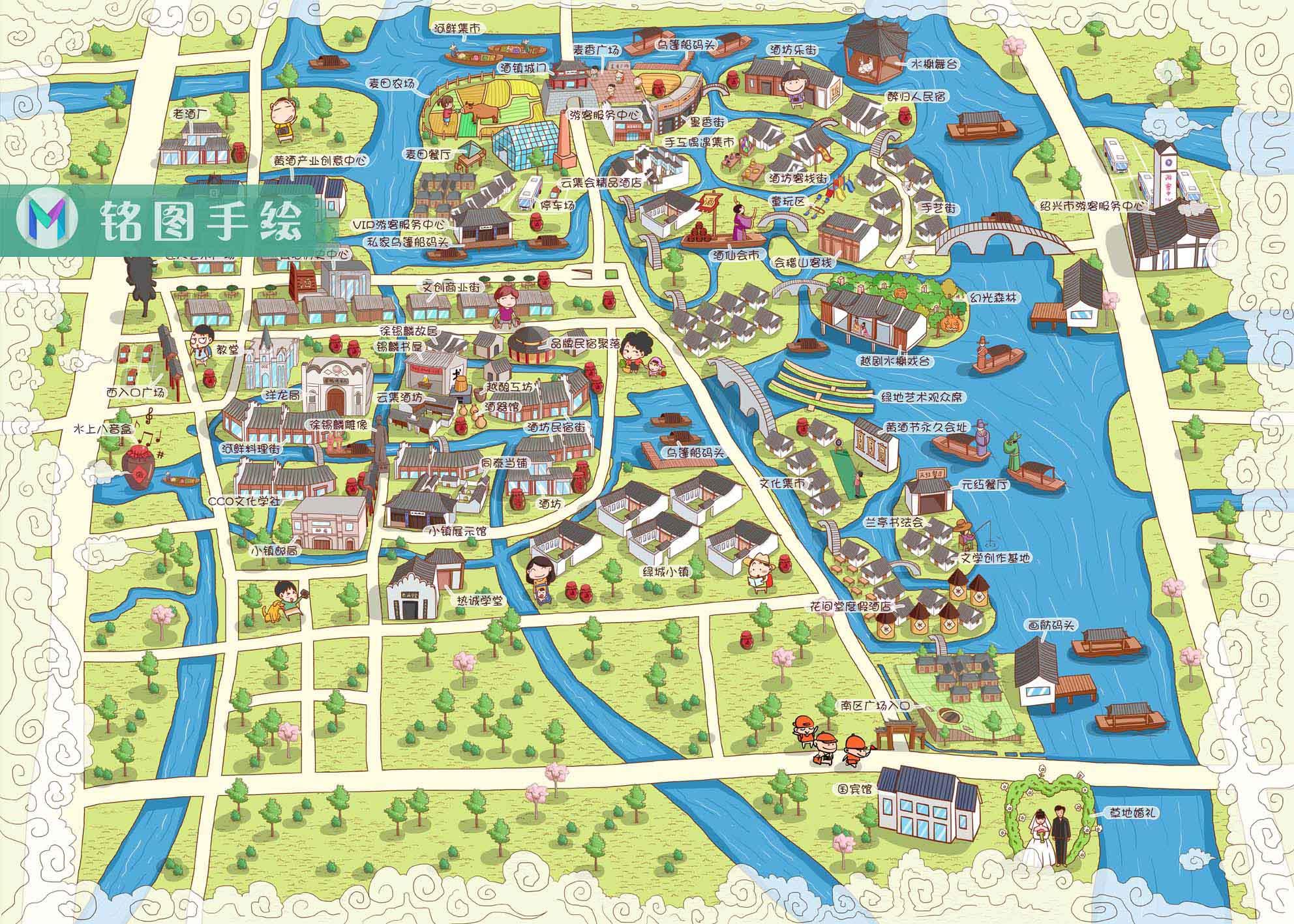 绍兴黄酒小镇手绘地图