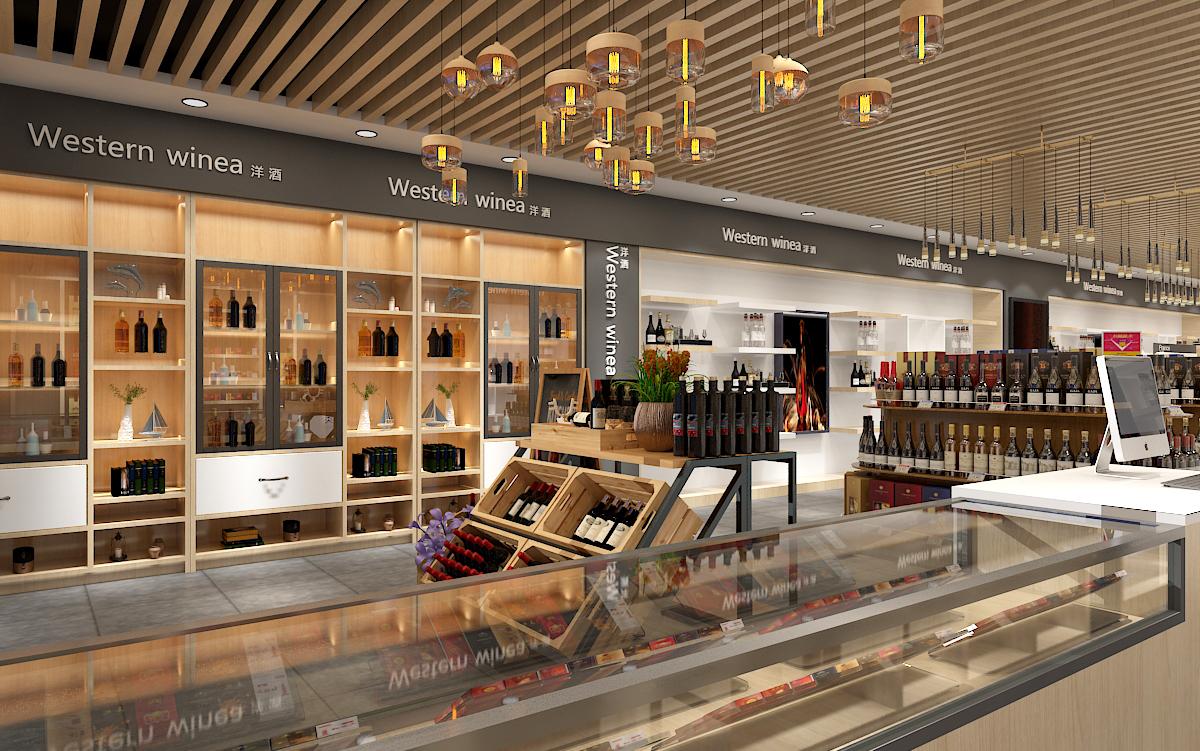 超市裝修設計便利店效果圖設計百貨商場水果煙酒超市裝修店鋪設計