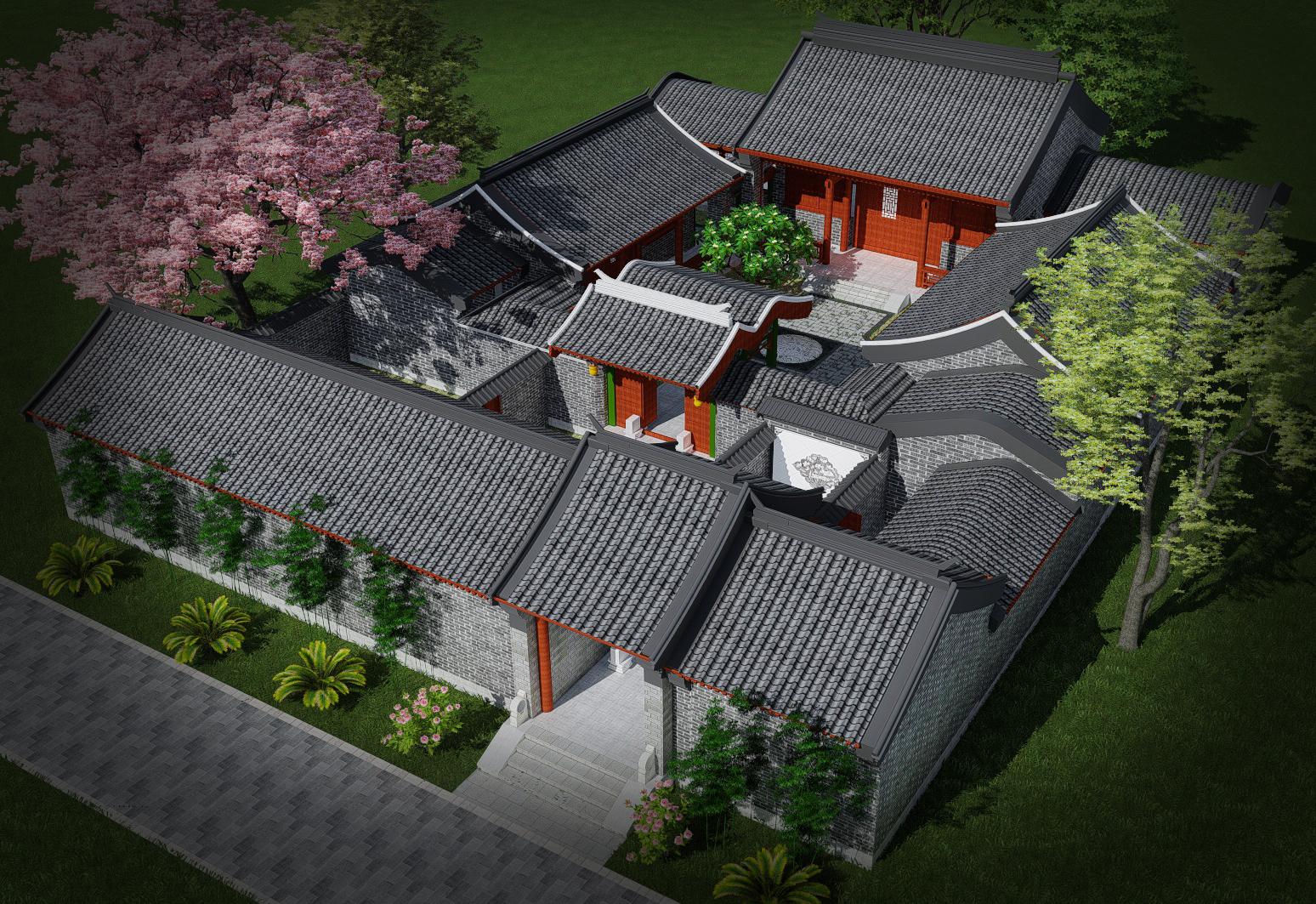 四合院设计四合院别墅设计中式自建房设计四合院效果图自建房