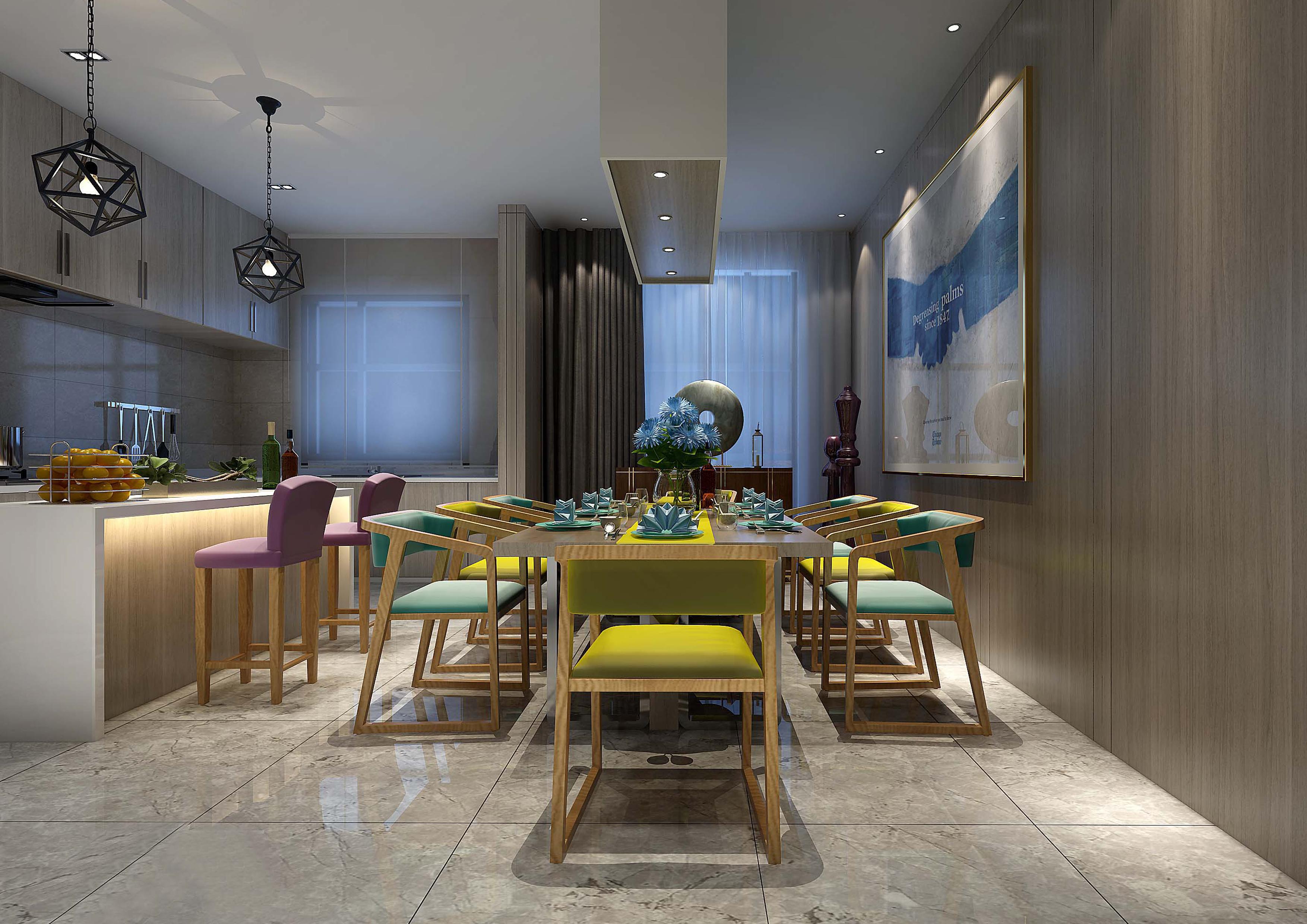 家装设计效果图别墅室内设计客厅餐厅厨房卧室书房公主房榻榻设计