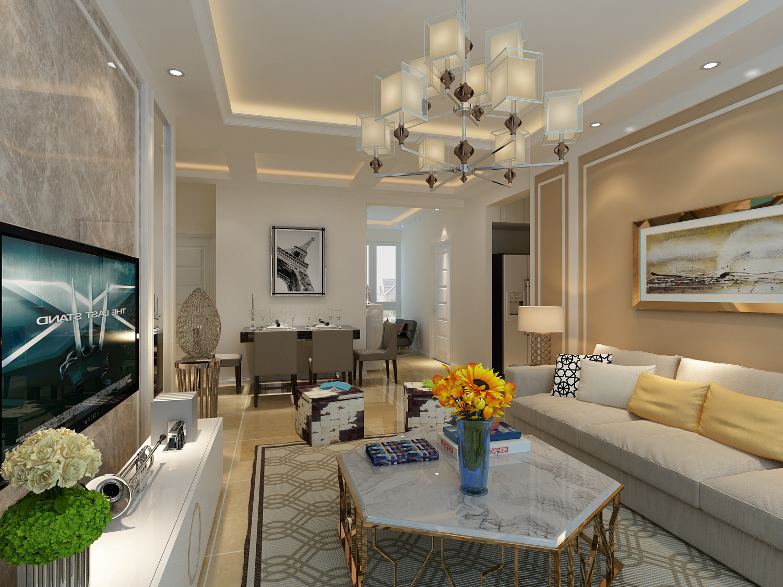 欧式客厅装修设计,石膏板造型吊顶,大理石电视背景墙.