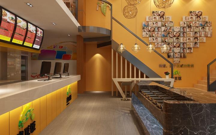 快餐简餐店面设计装修设计效果图制作商店店门面设计店铺门头设计