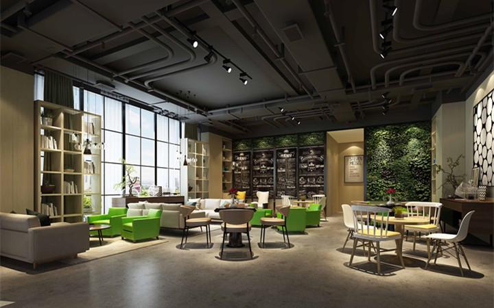 咖啡厅奶茶水吧中岛档口店铺店面吧台门头施工效果图室内装修设计图片
