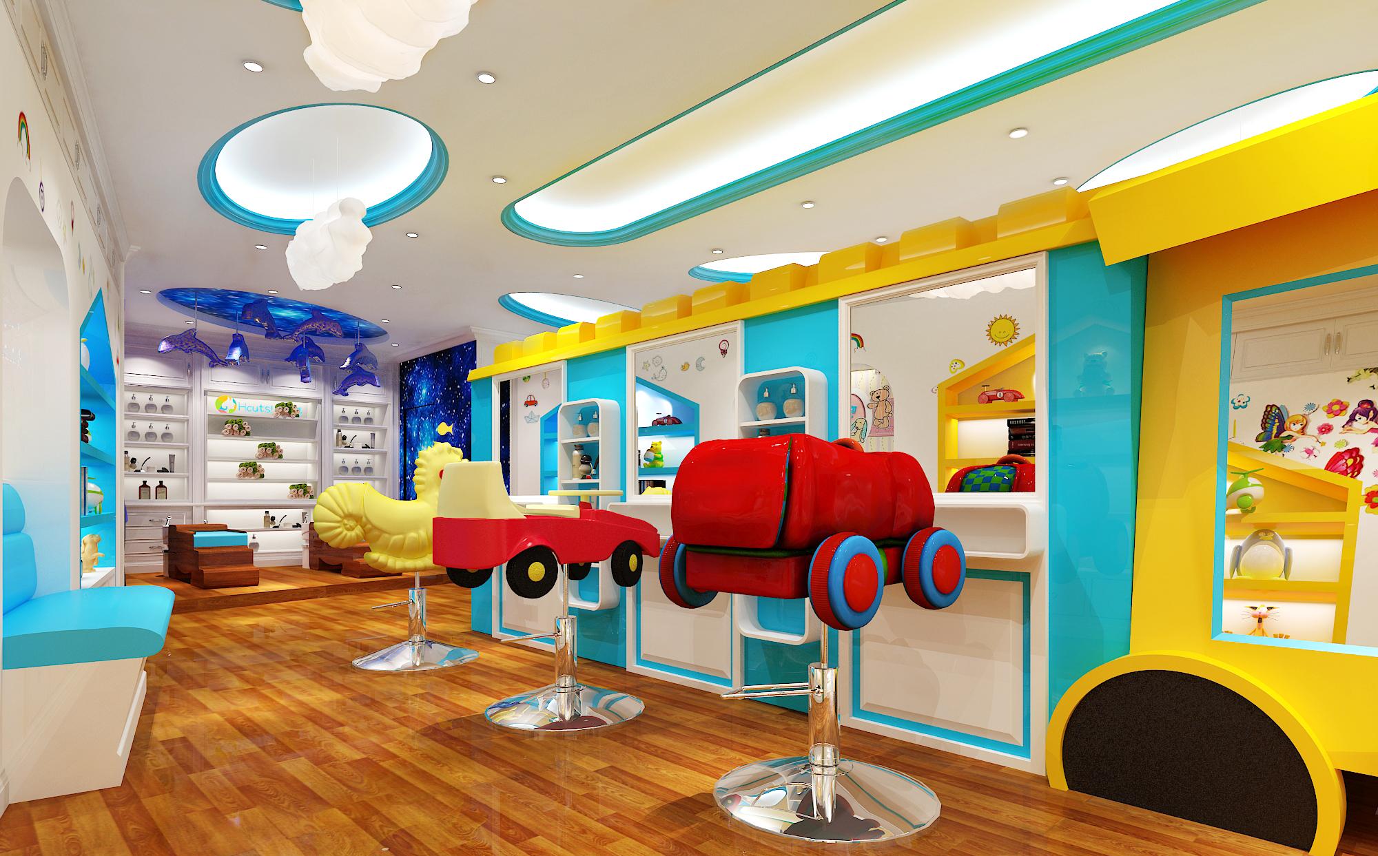 博新设计,品牌形象店,儿童理发店,幼儿园早教,教育机构效果图