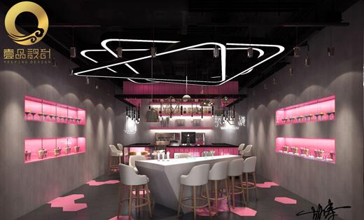 奶茶甜品店装修设计效果图制作连锁店设计