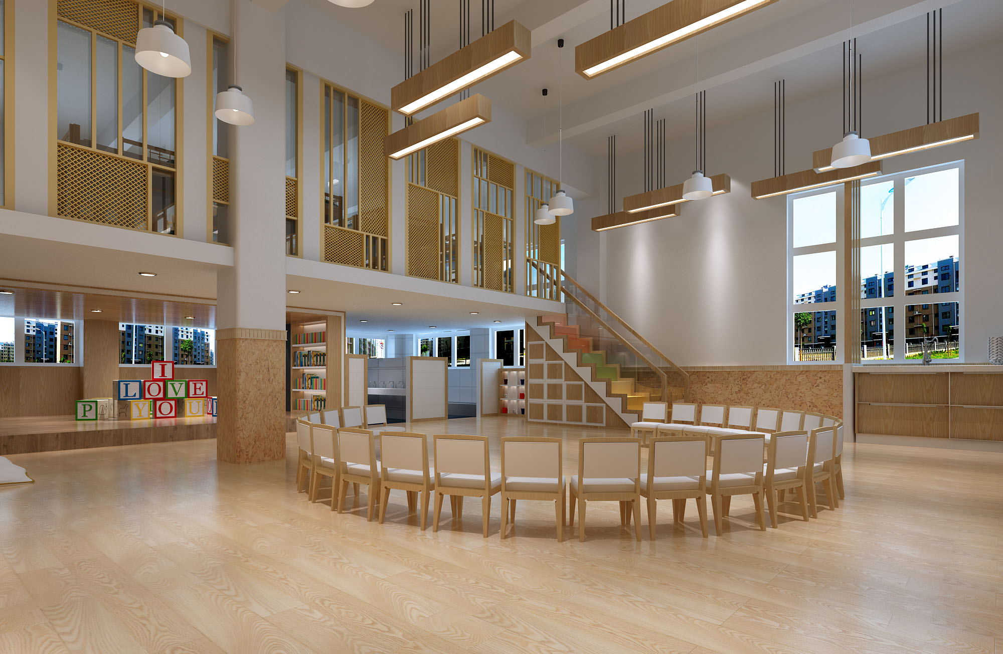 幼儿园 培训中心 图书馆 早教中心设计 效果图 全案设计