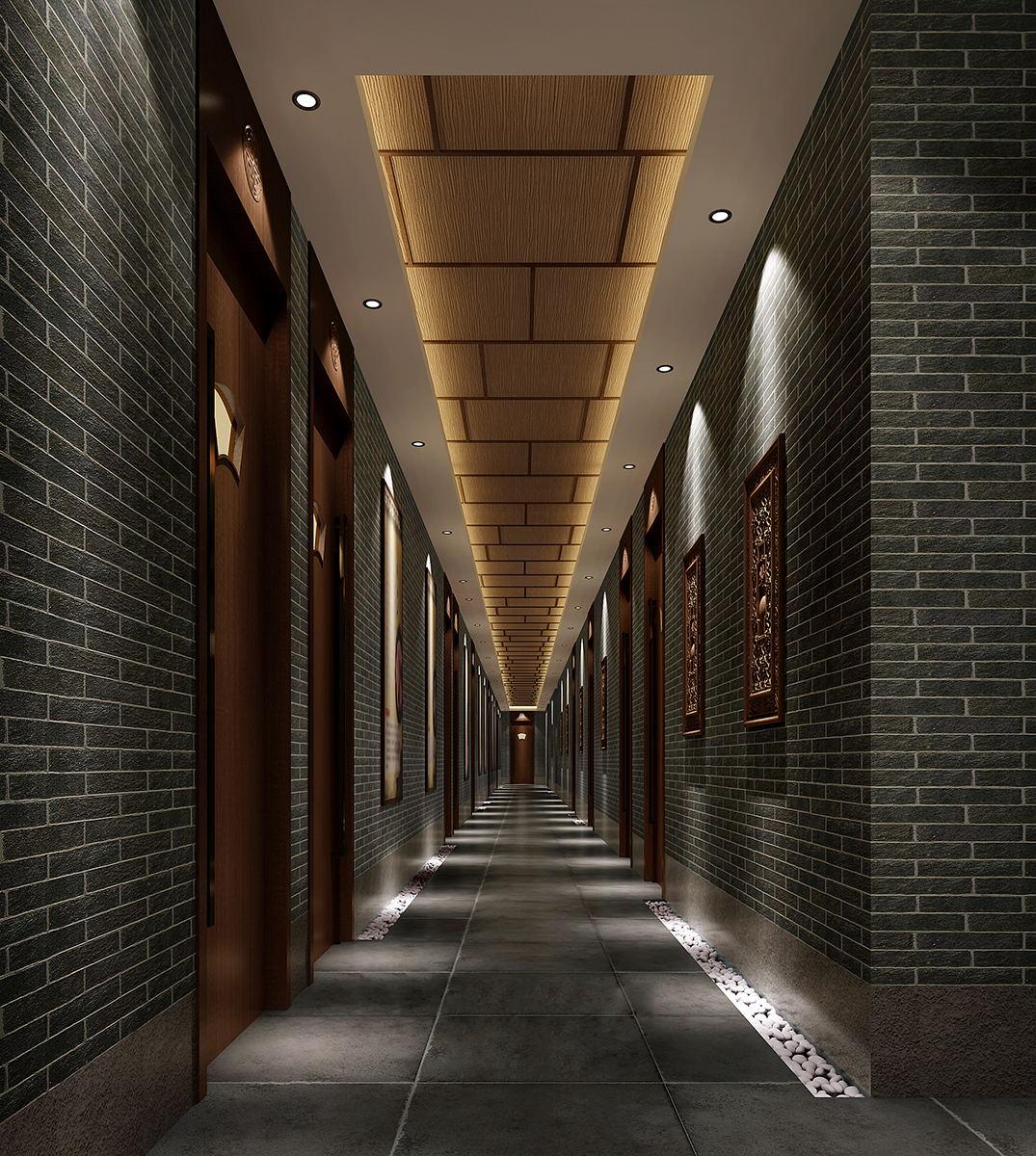 酒店会所 足浴城 名宿 特色宾馆设计 新中式 效果图设计