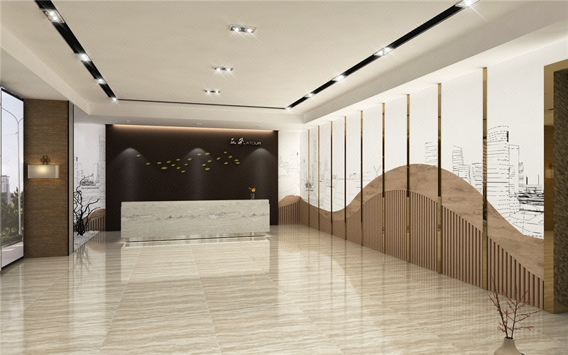 办公室大厅前台吧台形象墙公司设计公装效果图施工图装修室内设计