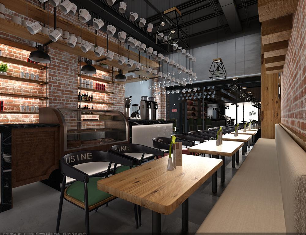 奶茶店装修效果图设计 饮品店装修效果图设计 vis全套