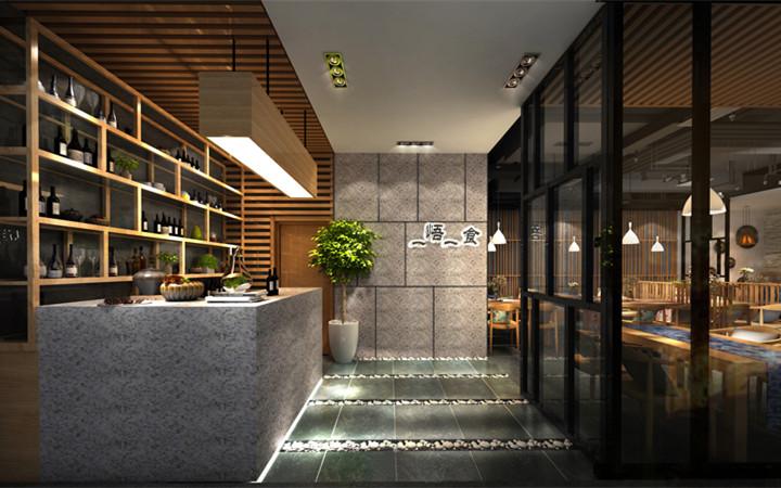 串吧烧烤火锅店面馆汉堡快餐厅店铺档口门面门头效果图施工图设计