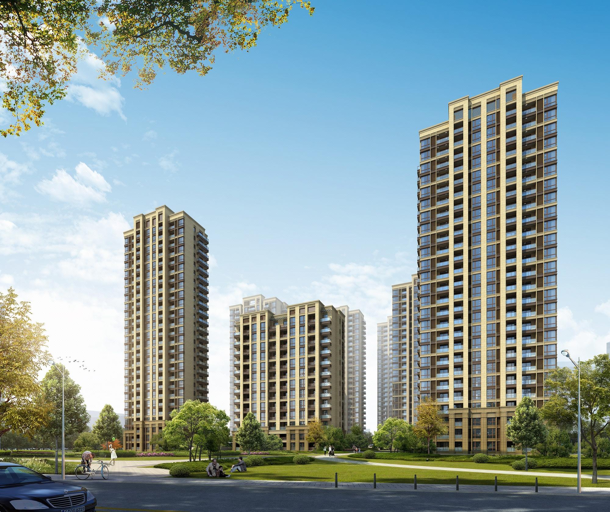 城市小区 高层 住宅 楼盘入口小区 建筑透视鸟瞰效果图