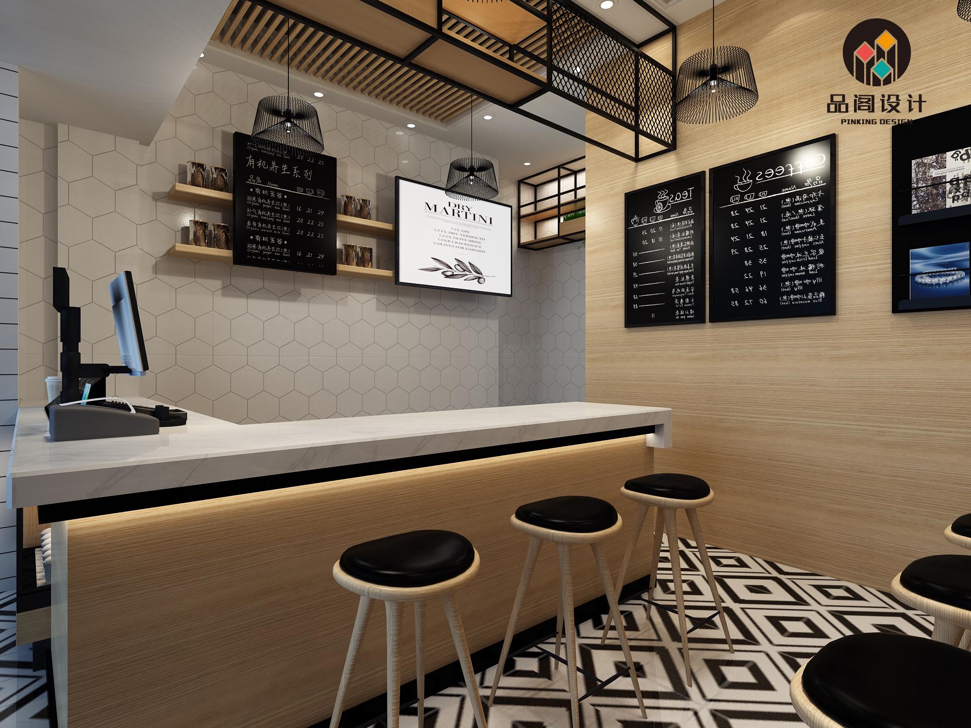 奶茶甜品店铺设计 装修设计效果图室内门店设计