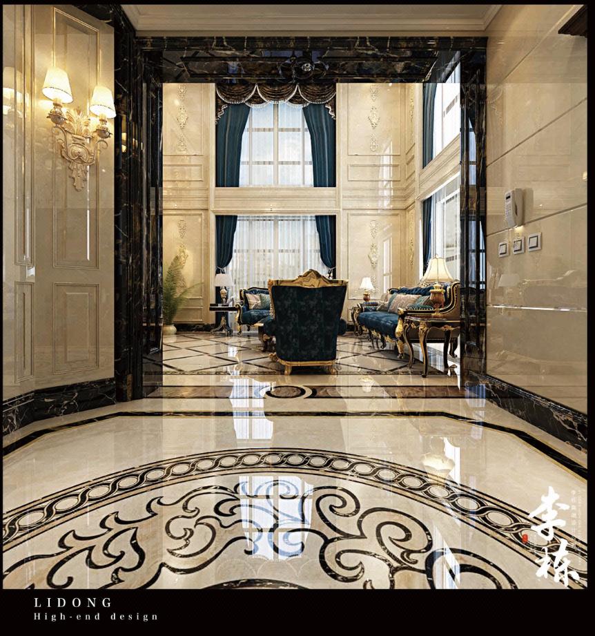 设计风格:奢华欧式 主要材料:金丝玉玛,莎安娜米黄一级理石,黑晶玉一