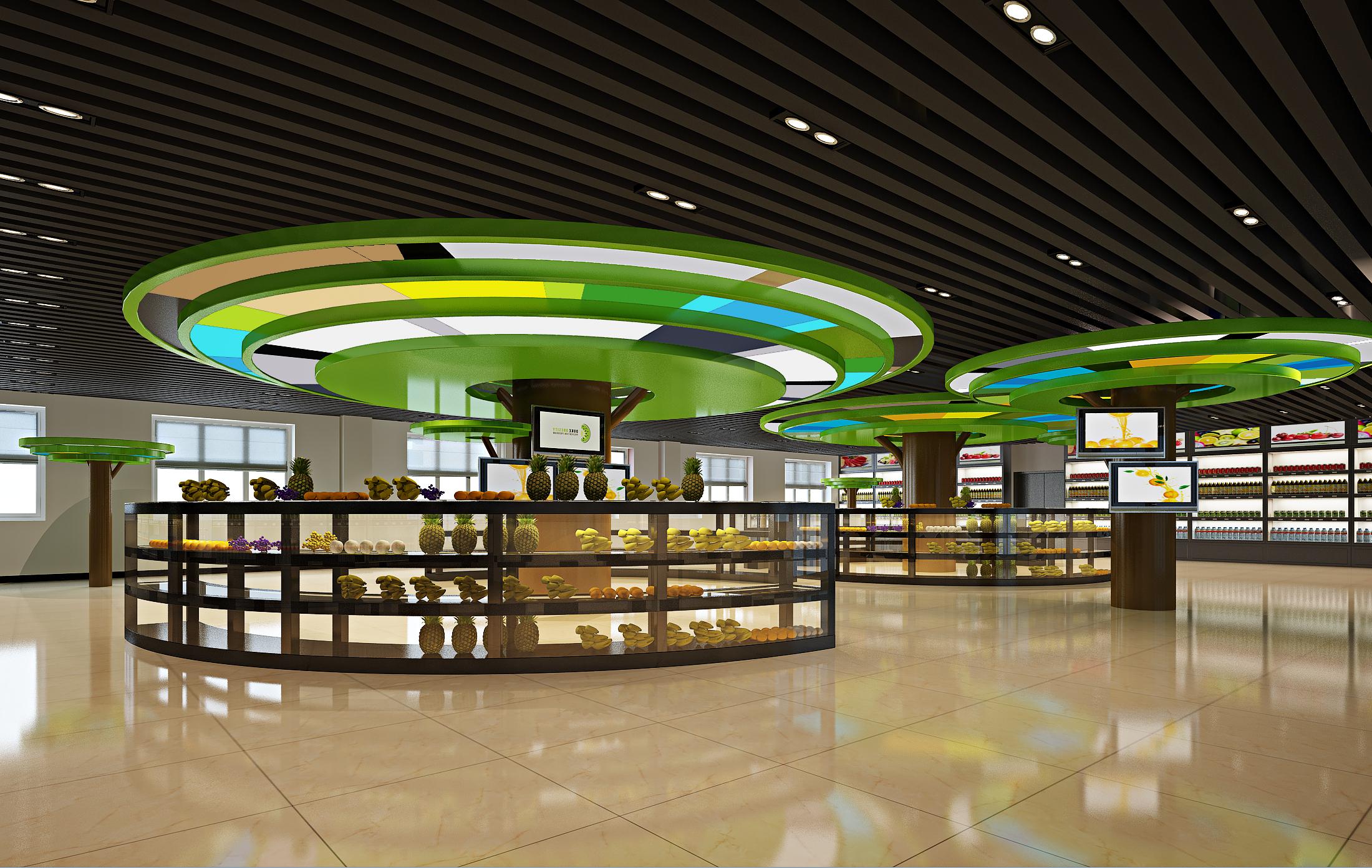 商场设计效果图店铺设计施工图店面装修效果图超市卖场装修设计