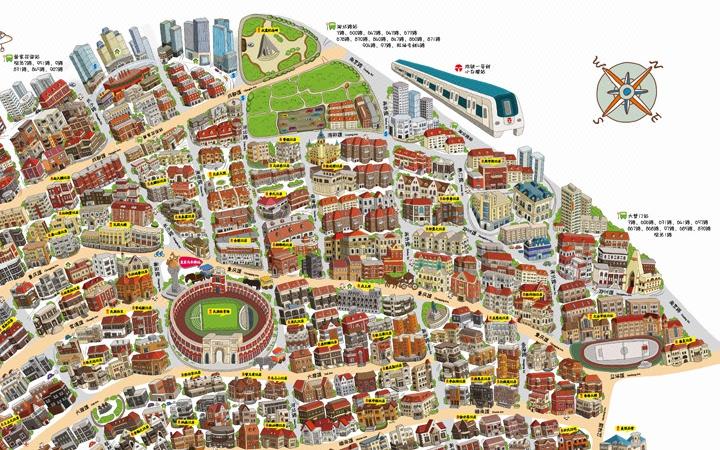 手绘卡通景点地图/手绘商业地图/手绘旅游景区地图/线路攻略图