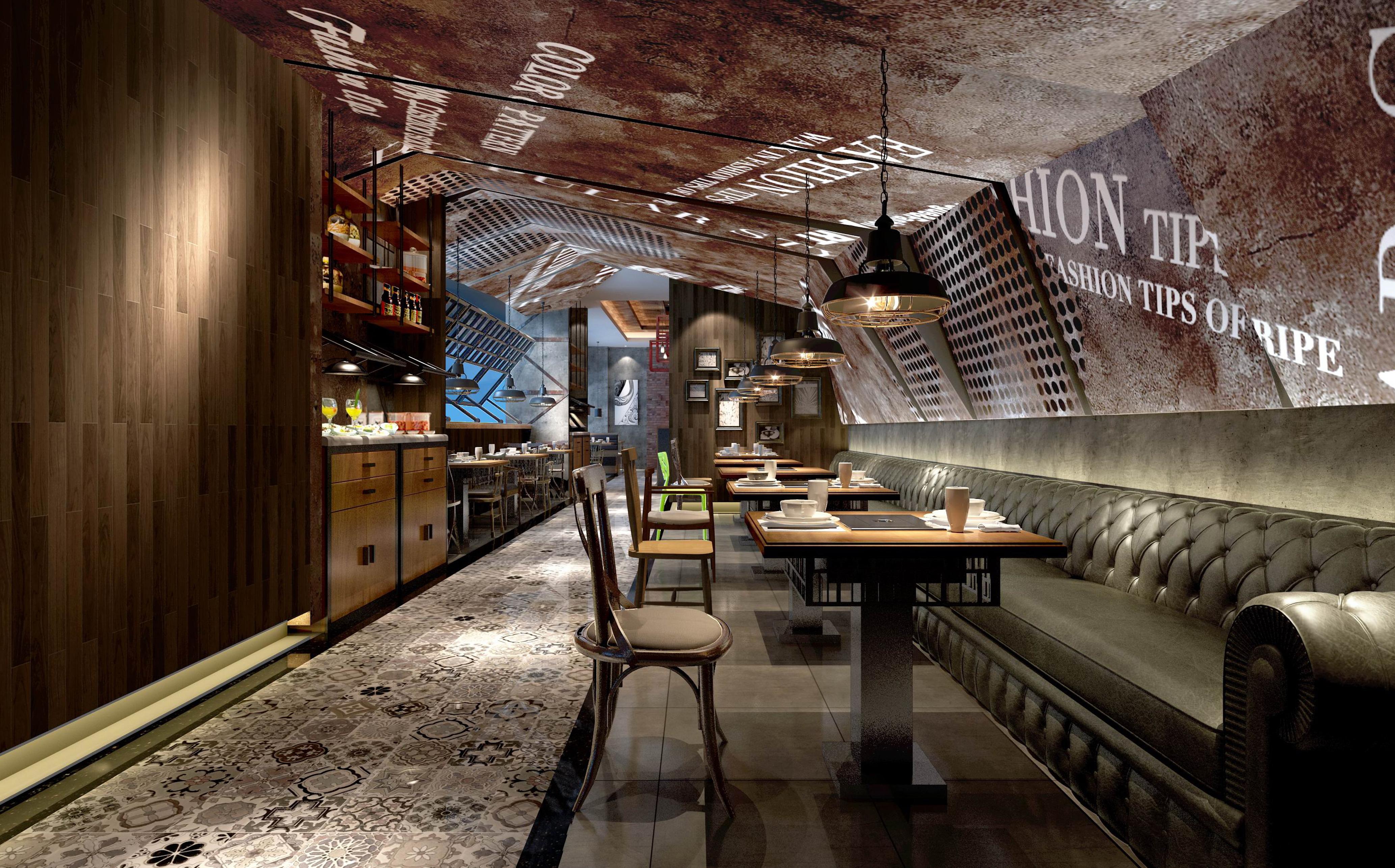 餐厅装修设计效果图餐饮店面装修中西餐厅设计施工图饭店设计装修