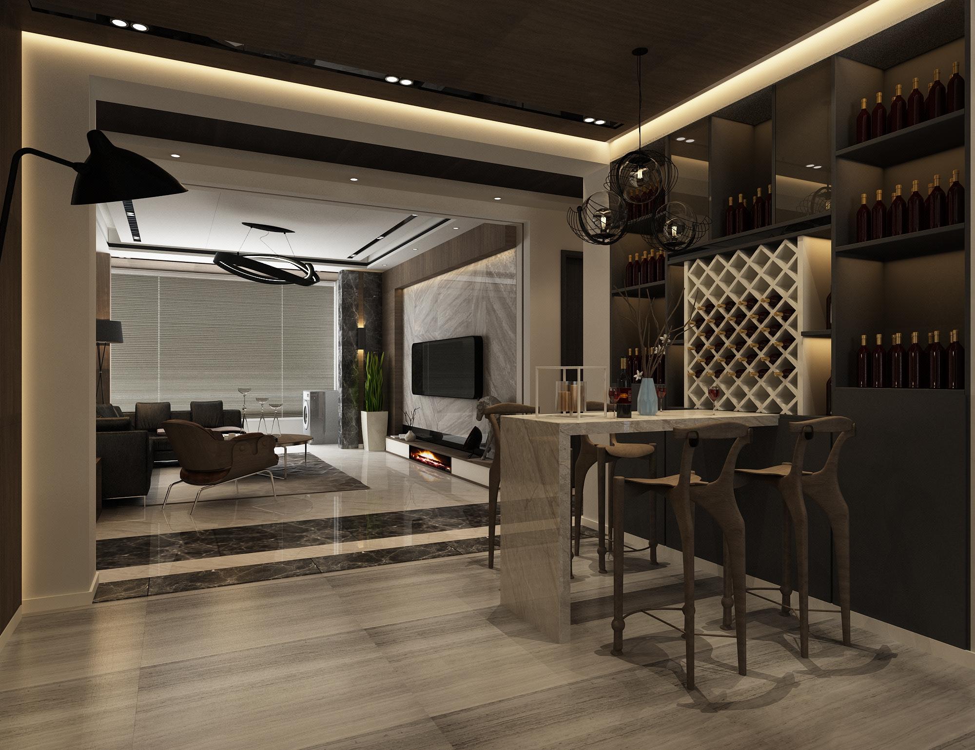 现代极简家装室内设计.家装效果图.装修