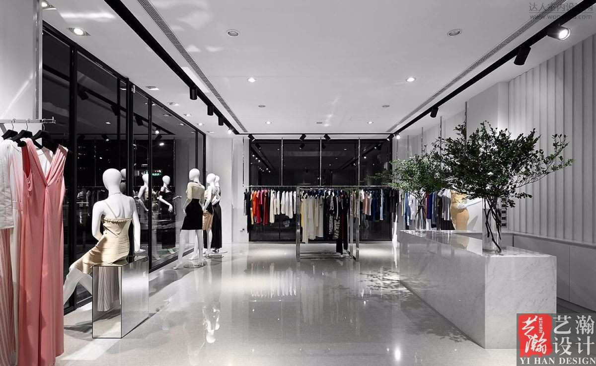 服装店效果图设计 店铺门头装修设计男装店女装店包包