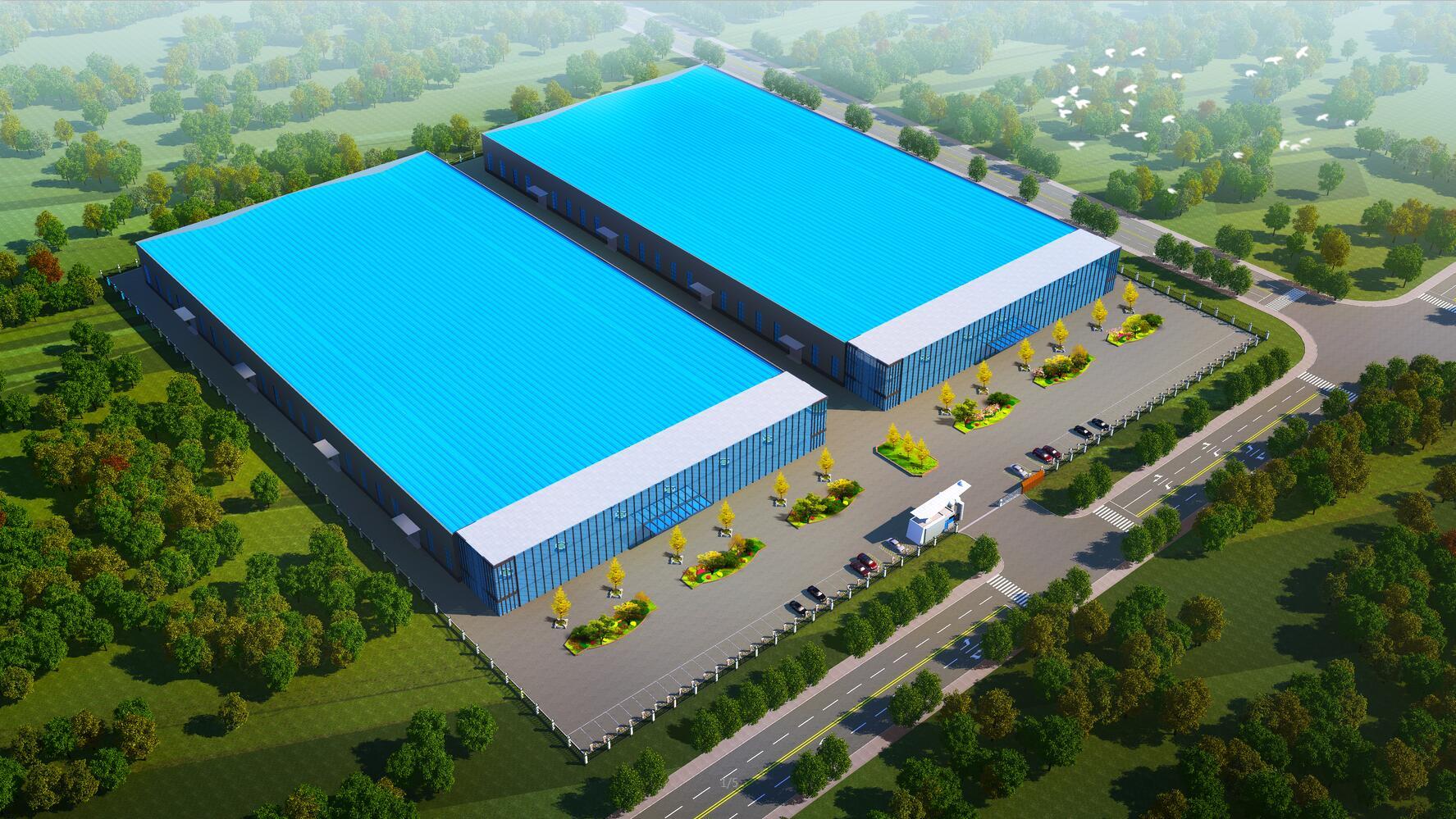 厂房效果图厂区车间鸟瞰图工厂工业园区透视图规划效果图制作设计
