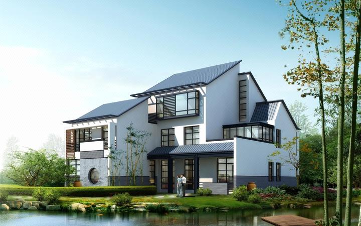 自建房设计别墅设计中式欧式现代别墅四合院别墅设计民宿客栈效果