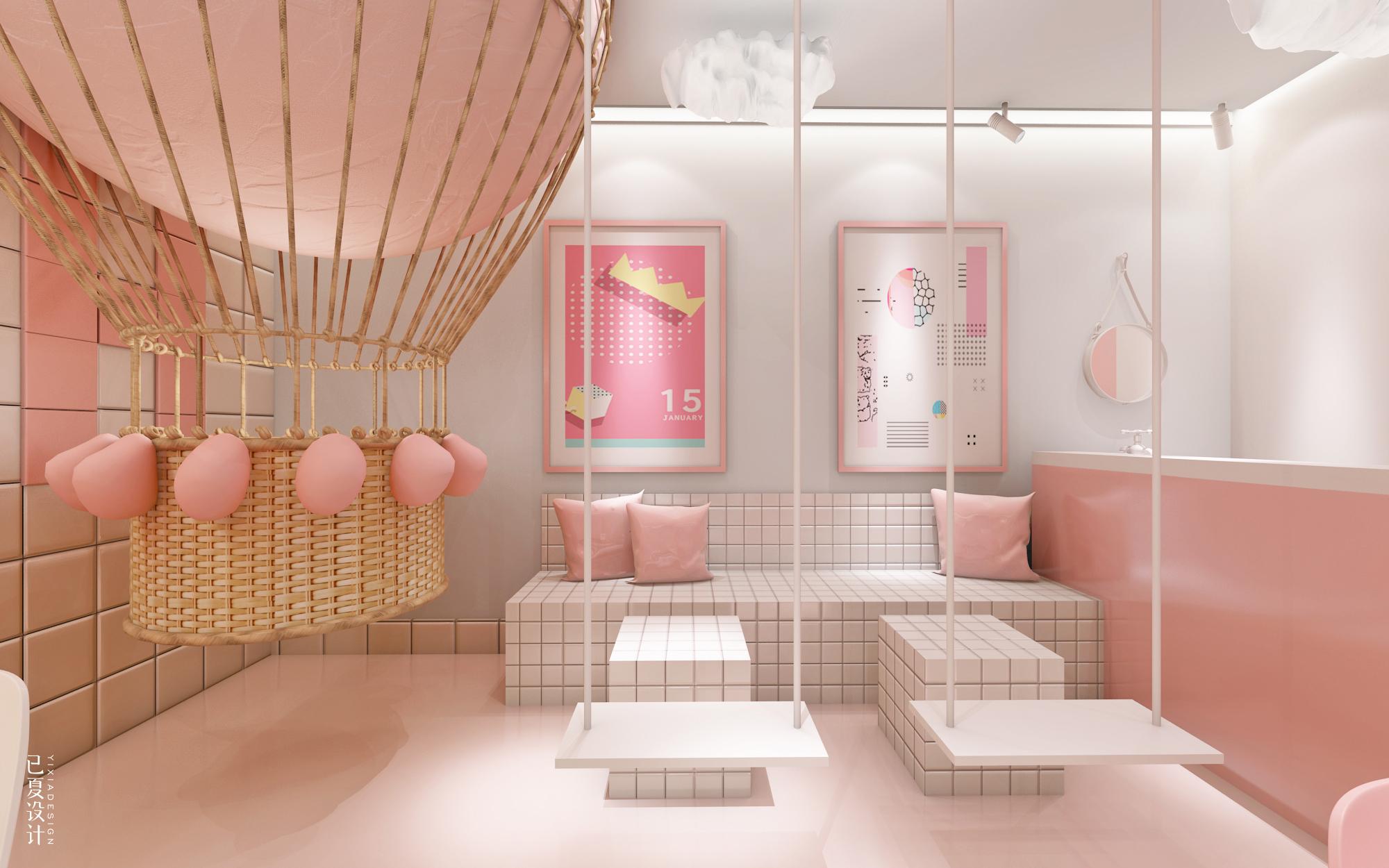 装修设计店面铺商场设计风餐饮室内饮品装修设计ins性冷淡网红