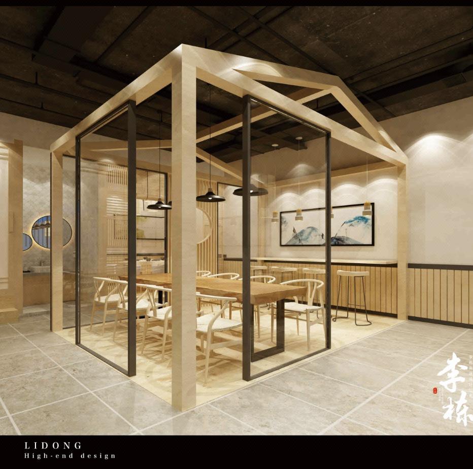 禅意餐厅设计,中式餐厅效果图,新中式风格快餐店铺