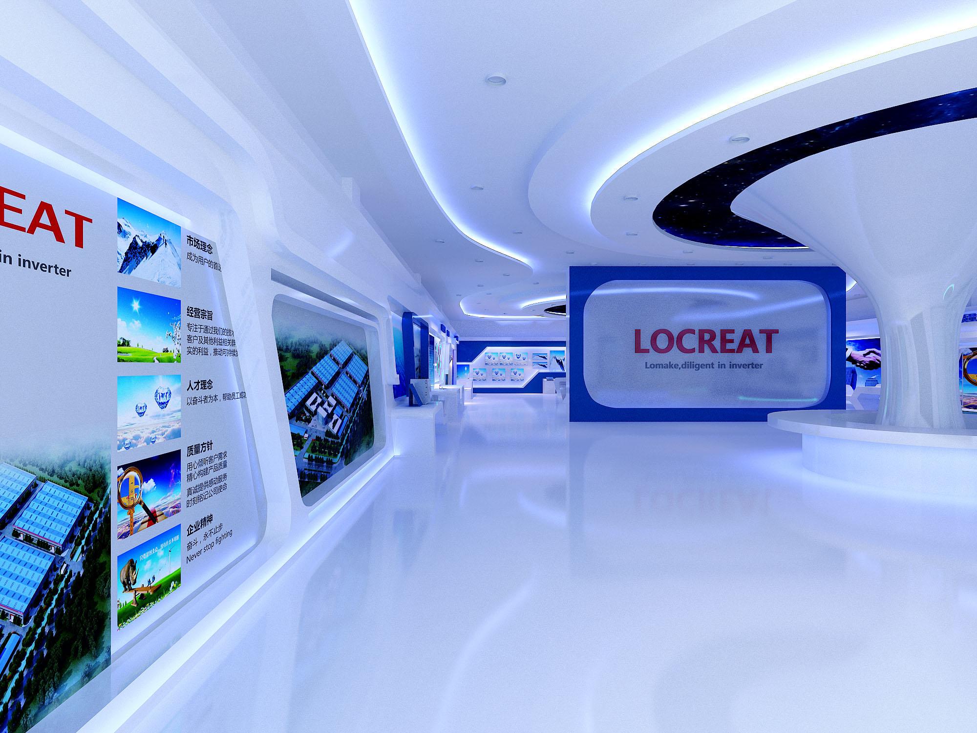 科技展会展厅设计效果图设计全套设计
