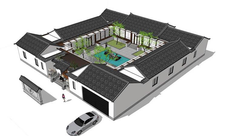 定制四合院新中式老中式传世大宅建筑结构水暖电住宅设计