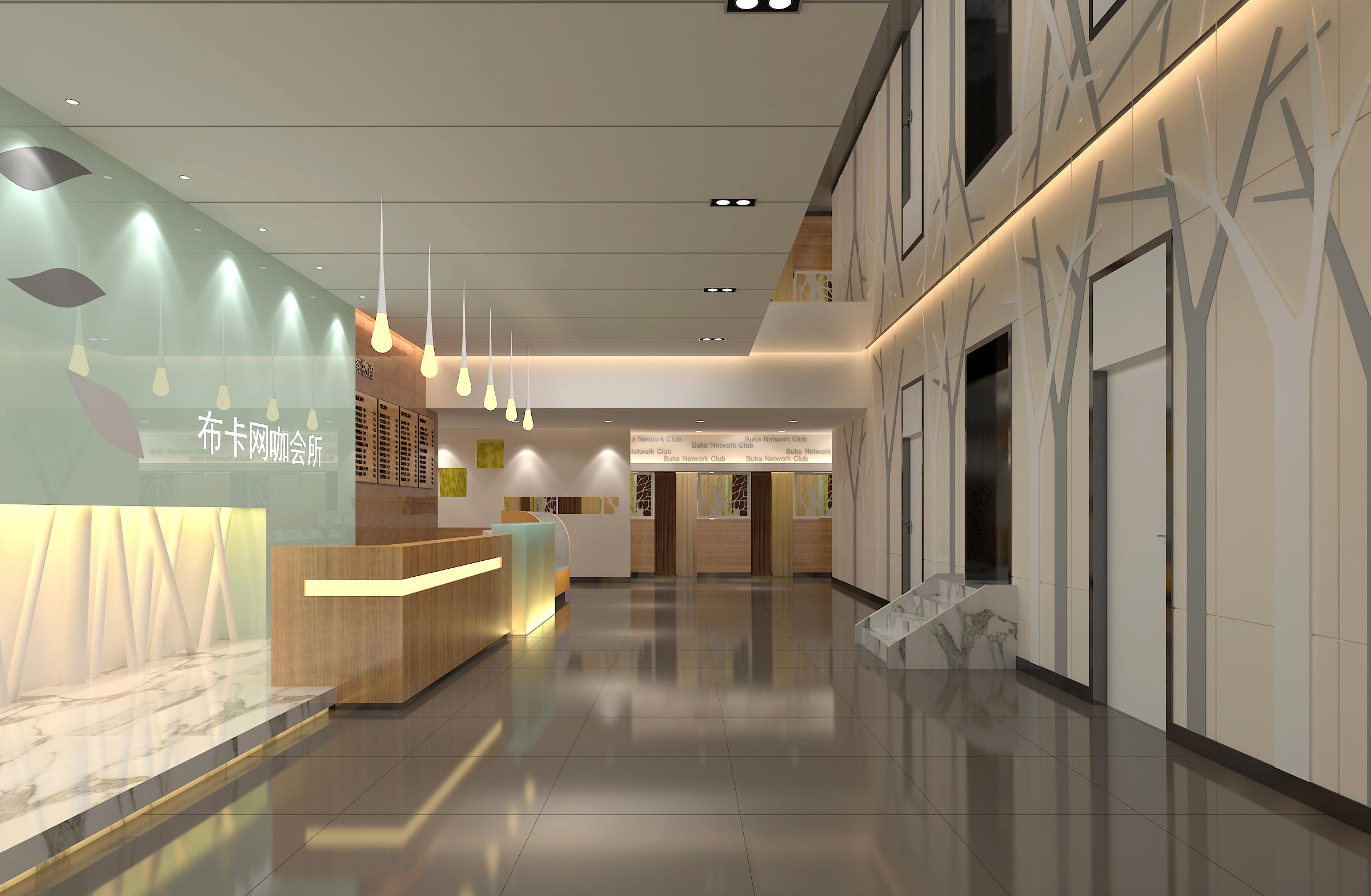 高端网咖设计,效果图 前台高端电竞健身房设计工业风时尚简约设