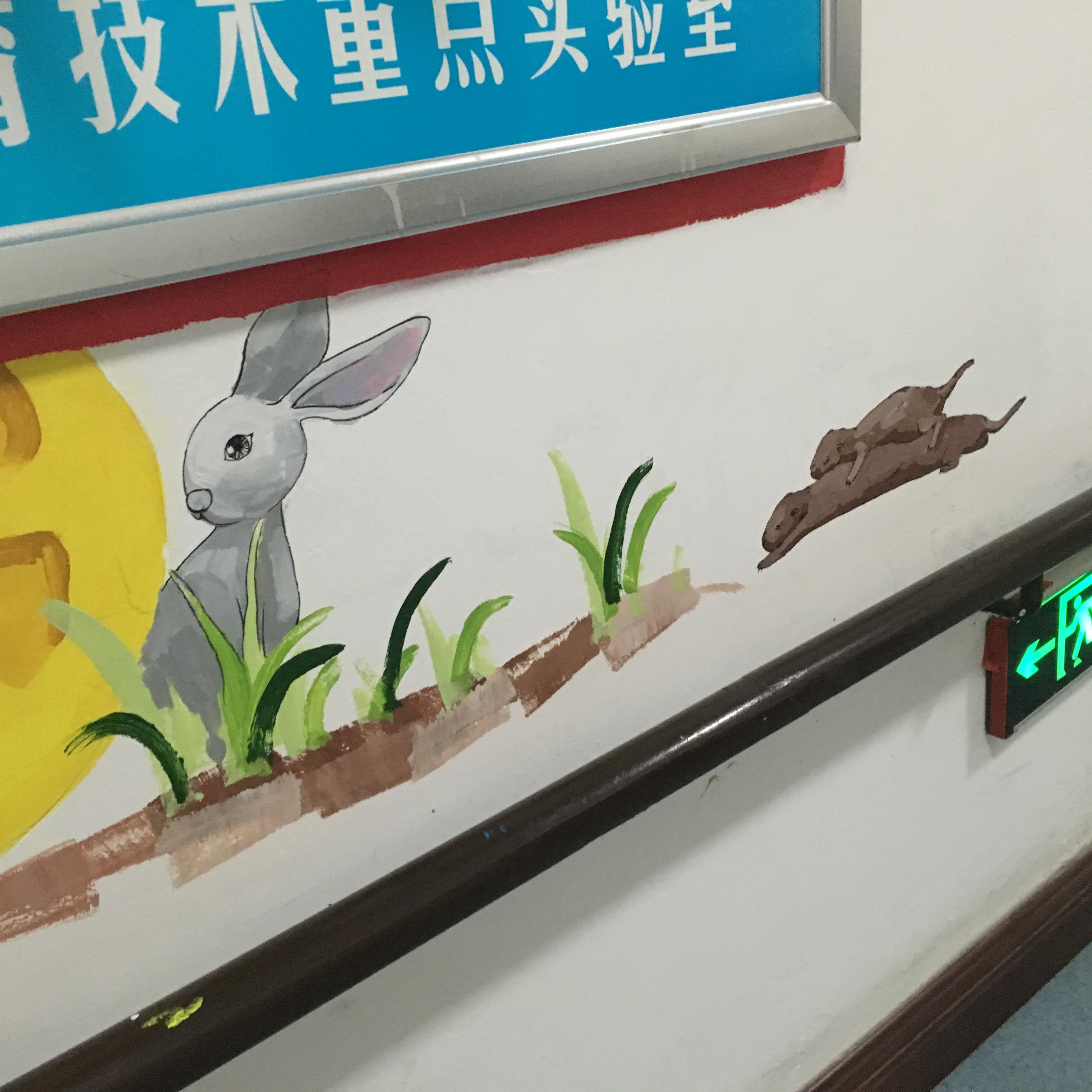 聋人工作室手绘墙体彩绘 卡通形象 动漫 美丽背景 简约风