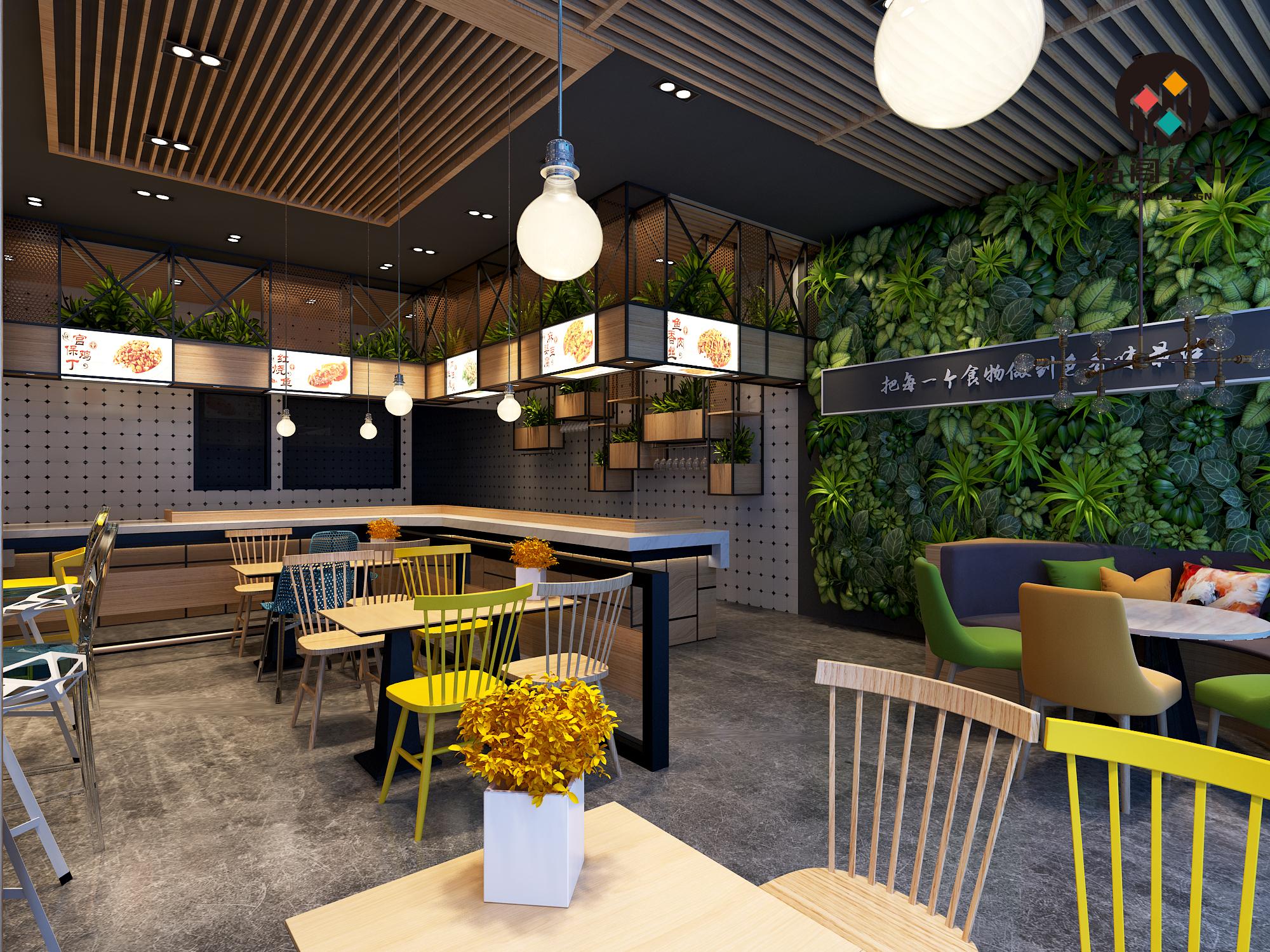 餐饮设计 室内设计 效果图设计小吃店铺效果图设计