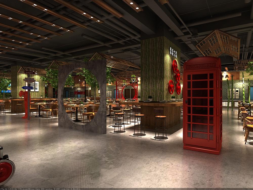 美食廣場裝修設計 美食街室內設計 美食餐廳效果圖設計