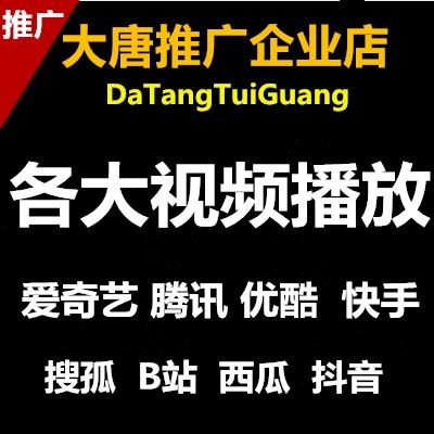 优酷腾讯爱奇艺搜狐网易秒拍美拍抖音B站火山小视频粉丝推广播放
