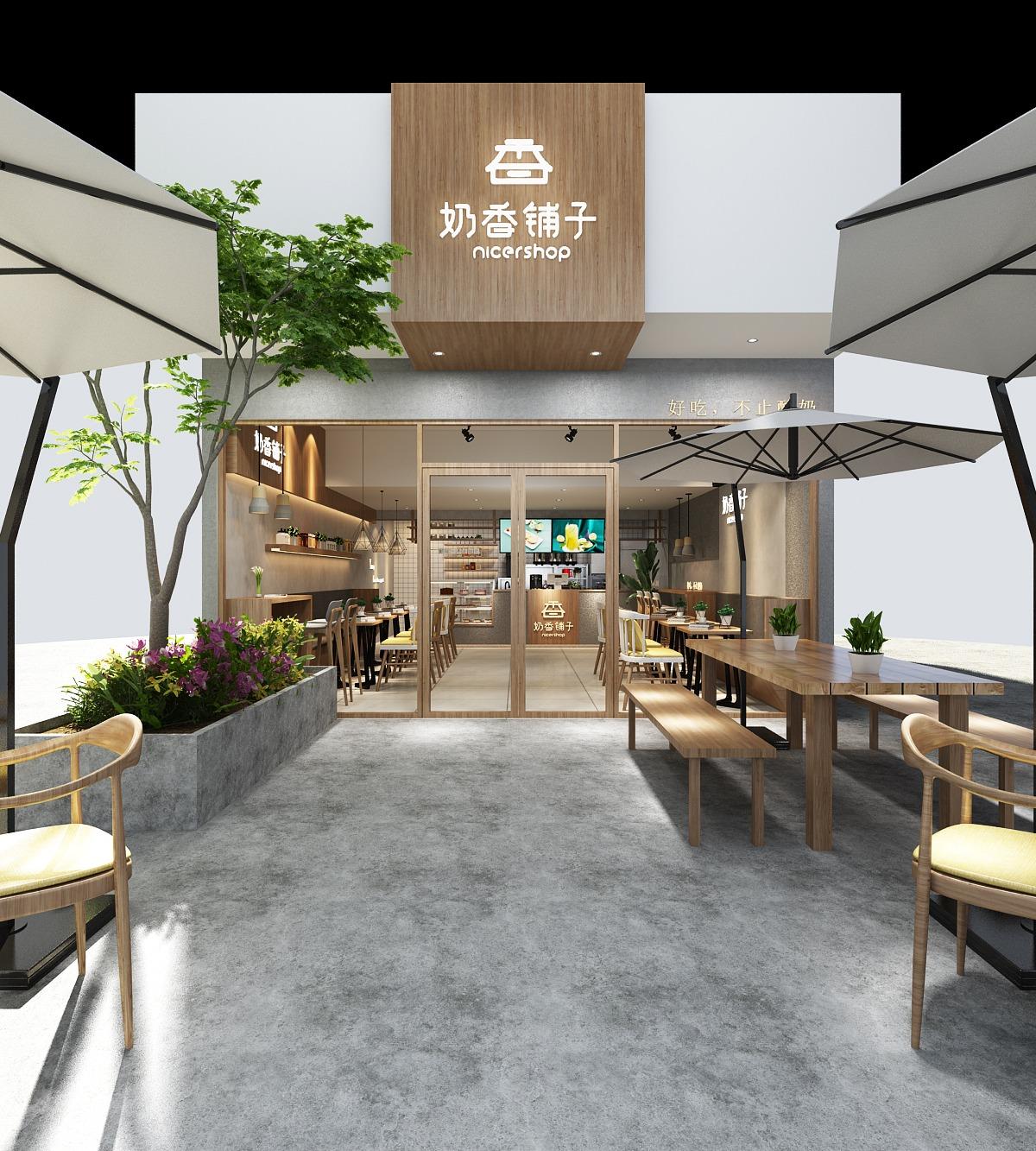 奶茶店面水吧设计咖啡店设计餐饮店铺设计果汁饮品甜品店设计