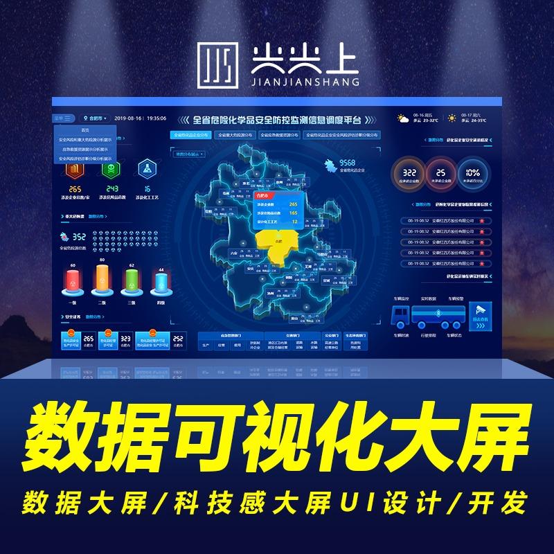 大数据可视化大屏软件界面定制设计科技感ui前端Echarts