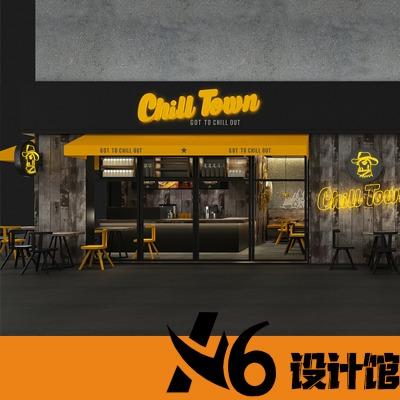 咖啡厅奶茶店甜品店面门面装修设计商铺室内门头餐厅背景墙效果图