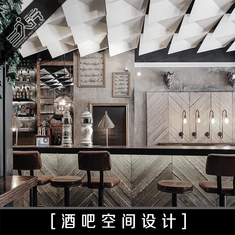 复古休闲loft酒吧装修设计KTV夜店室内空间效果图音乐餐厅