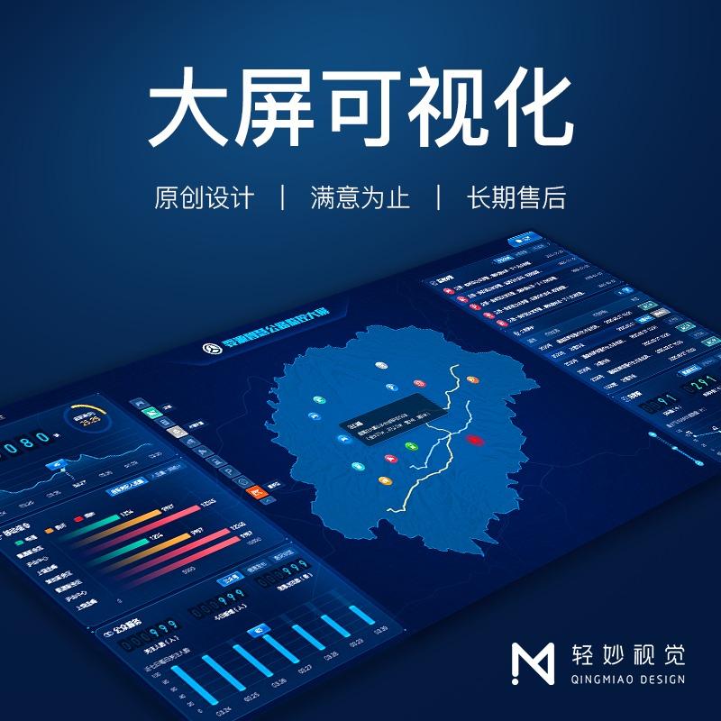 大屏可视化软件UI页面设计界面大数据监测报表图表展示管理系统