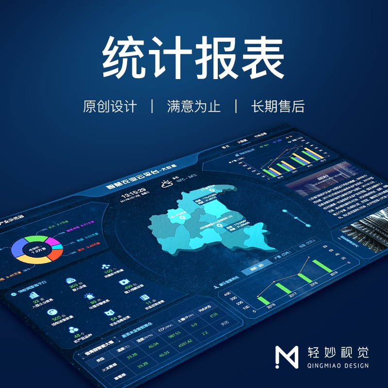 大屏可视化大数据软件UI页面设计界面echarts地图表开发